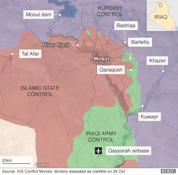 Map of Mosul and surrounding area
