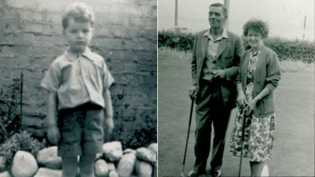 Robin as a child (left) and his adopted parents Fred and Elsie King (right)