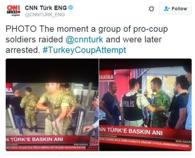 CNN Turk: PHOTO The moment a group of pro-coup soldiers raided @cnnturk and were later arrested. #TurkeyCoupAttempt