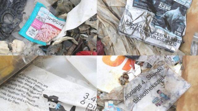 Resíduos plásticos de diferentes países encontrados em Jenjarom
