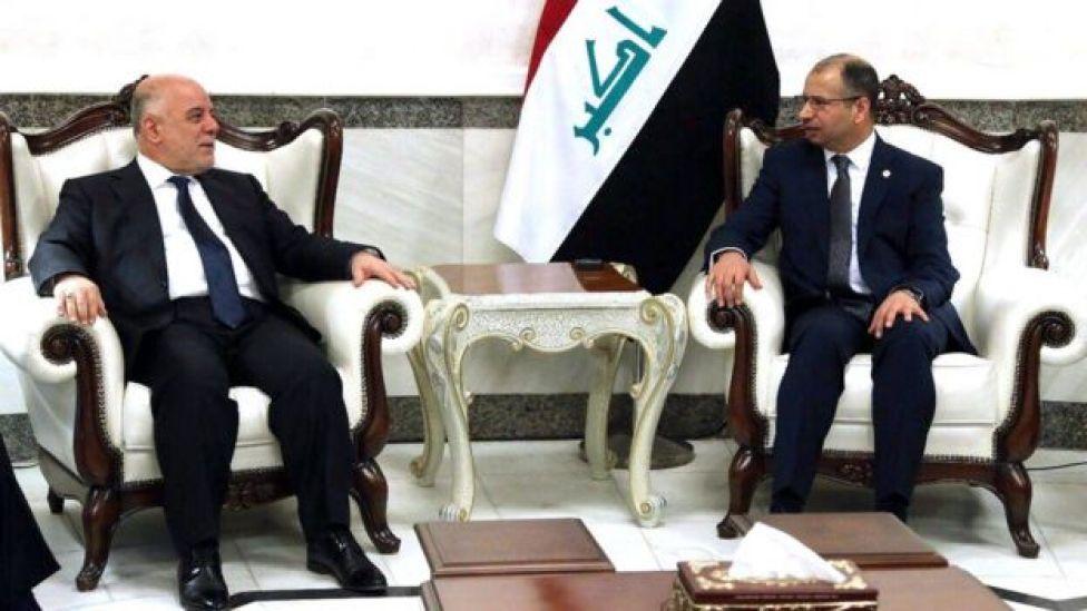 حیدر عبادی (سمت چپ) با سلیم جبوری، رئیس مجلس عراق