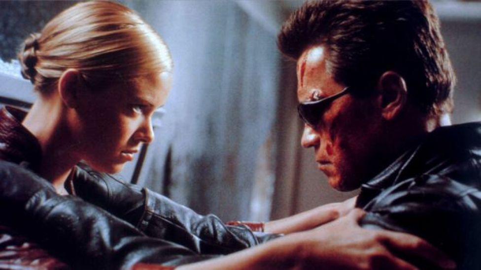 Arnold Schwarzenegger with Kristanna Loken in Terminator 3: Rise of the Machines
