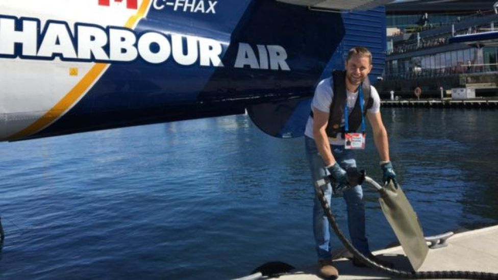 Richard Browning in Vancouver harbour, getting fuel