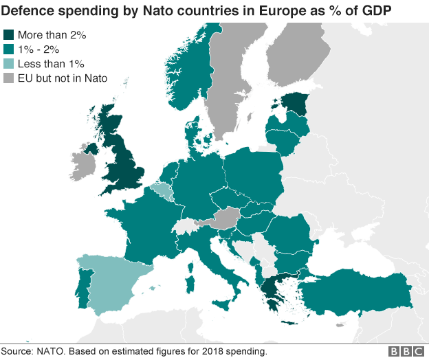 Map of Nato countries' defence spending