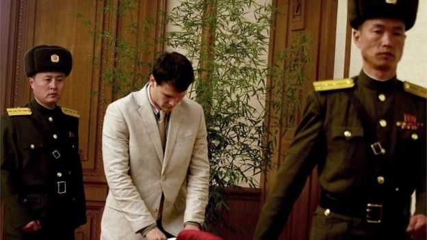 Otto Warmbier enters the press conference in Pyongyang (29 February 2016)