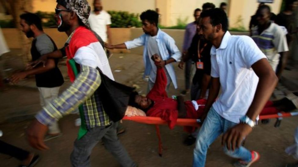 A Sudanese protester injured during demonstrations along a street in central Khartoum, Sudan May 15, 2019