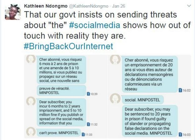 Image of tweet showing text messages warning about use of social media