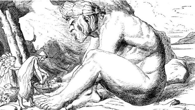 Una ilustración de Polifemo ý unos humanos