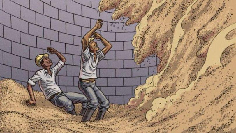 Ilustração mostra quantidade enorme de grãos caindo sobre trabalhadores