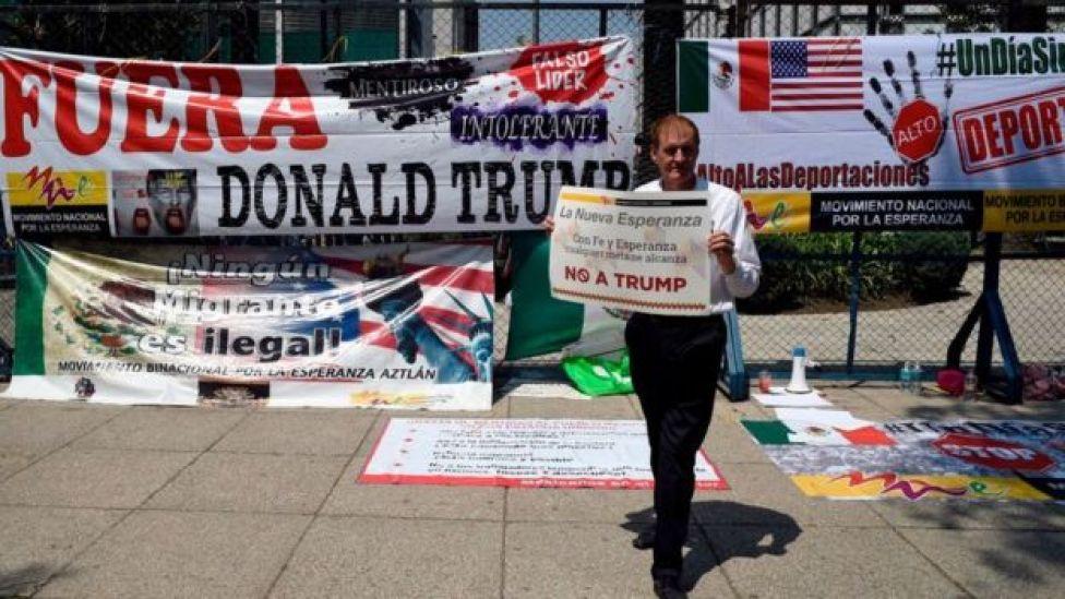 Protesta en México contra Trump