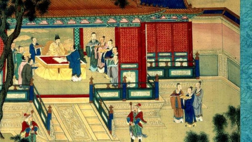 Emperor of the Han Dynasty with scholars translating classical texts.
