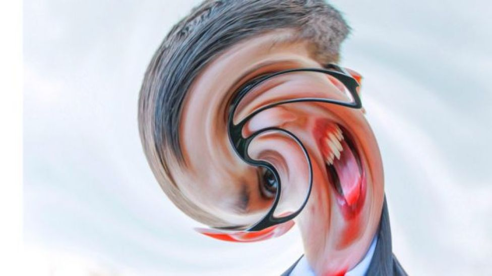 Man's head distorted