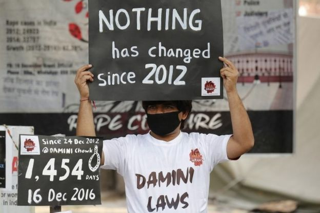 An Indian activist holds placards as he takes part in a protest to mark fourth anniversary of the Delhi gang rape crime, at Jantar Mantar in New Delhi, India, 16 December 2016