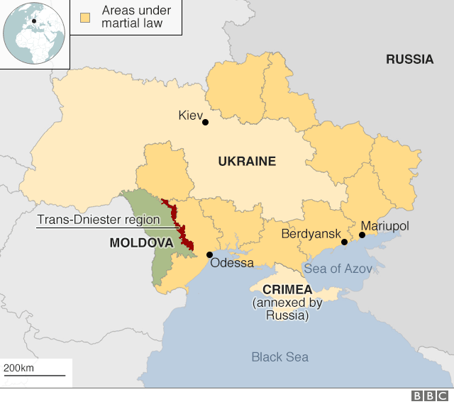 Map showing areas under Ukrainian martial law from 26 November