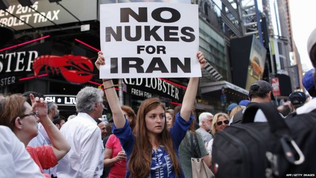 Protesters rally against the nuclear deal with Iran in Times Square in New York on July 22, 2015.