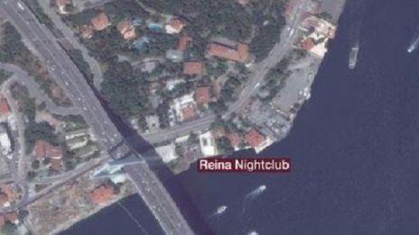 Map of Istanbul showing Reina nightclub on shore of Bosphorus