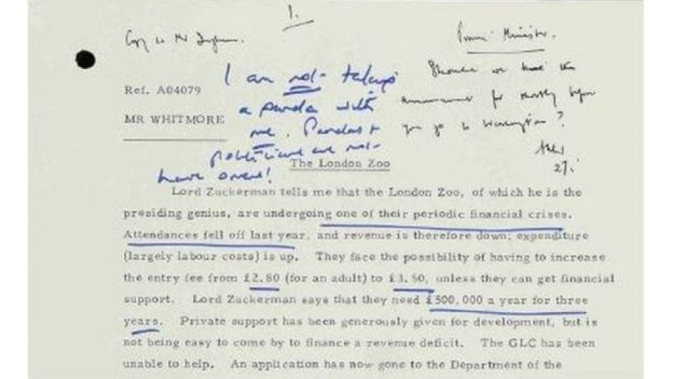 Nota de Margaret Thatcher.