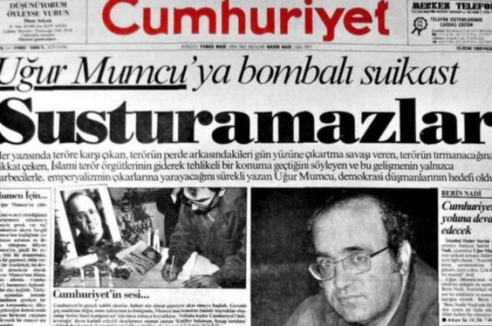 Cumhuriyet gazetesinin 25 Ocak 1993 tarihli sayısının birinci sayfası
