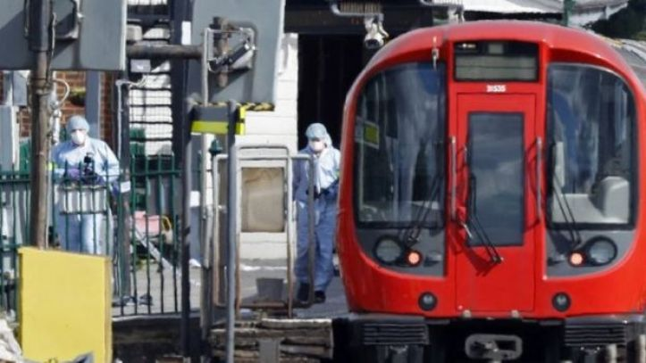 Forensic officers at a London Underground train
