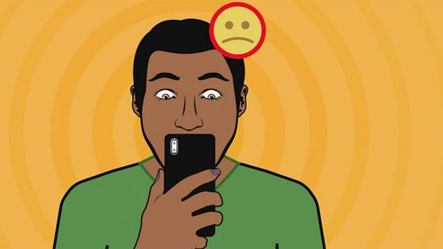 Chico con teléfono infeliz dibujo