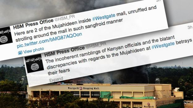 Images of Al-Shabab's tweets at the time of Westgate mall attacks
