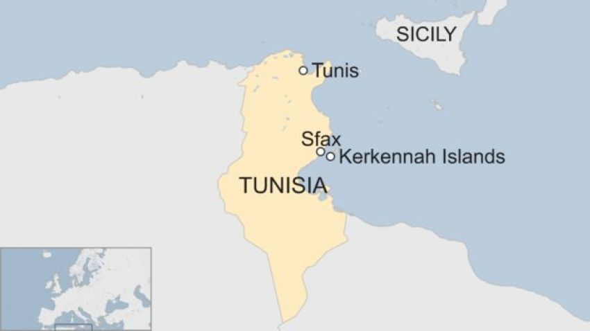 Map showing the location of the Kerkennah islands and the city of Sfax in relation to Tunisia's capital Tunis and the Italian island of Sicily