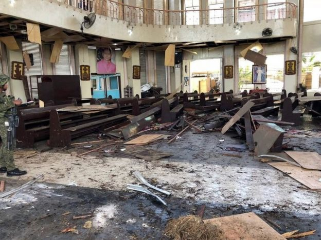 Debris inside a Catholic church in Jolo after twin bomb blasts. Photo: 27 January 2019