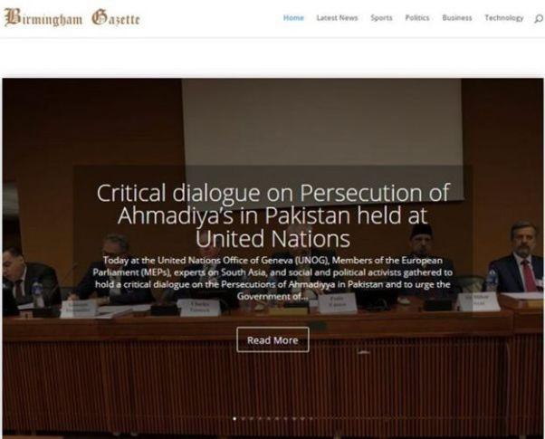 Zrzut ekranu z pierwszej strony Birmingham Gazette przedstawiający historię anty-pakistańską