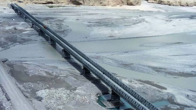 'Col Chewang Rinchen Setu', a bridge built by Border Roads Organisation (BRO) over River Shyok, connecting Durbuk and Daulat Beg Oldie in Eastern Ladakh