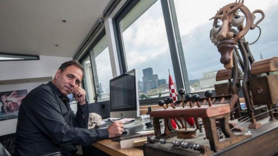 Anthony Horowitz in one of his offices
