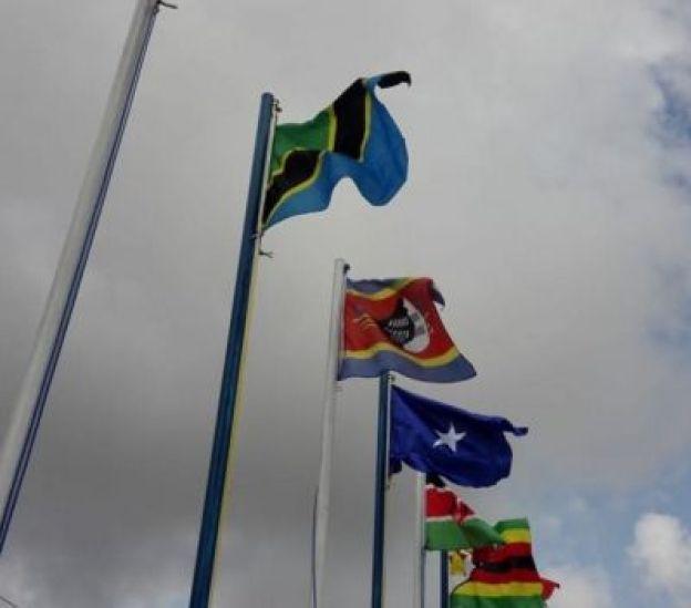 Bendera za baadhi ya mataifa yanayoshiriki riadha za Afrika Nigeria