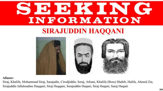 A US wanted poster for Afghan militant Siraj Haqqani