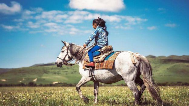 Una persona a caballo