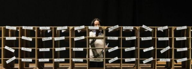 An array of at least 44 boxes, each labelled with the name of a candidate