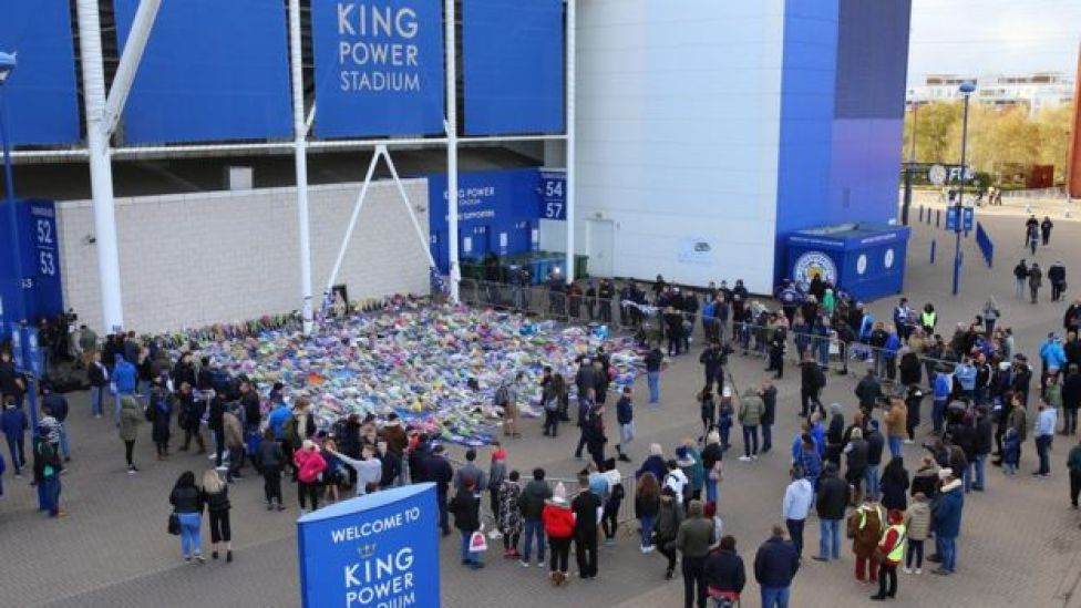 Hundreds of bouquets of flowers and tributes have been left by Leicester City fans