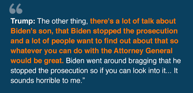 Extract of phone call where Trump mentions Biden