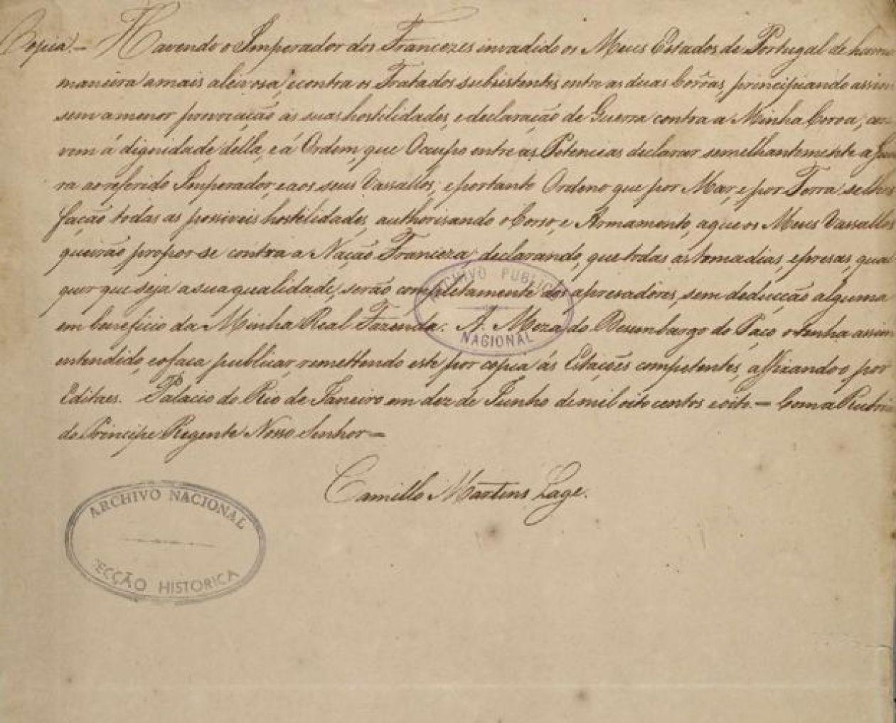 Declaração de Guerra de Dom João 6º a Napoleão Bonaparte
