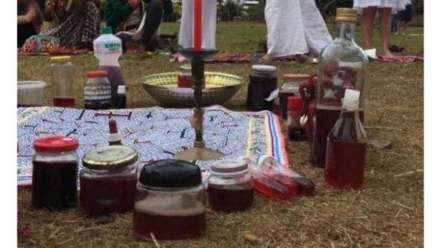 Diversos recipientes de vidro e plástico contendo sangue de menstruação usado no ritual chamado de Plantar a Lua