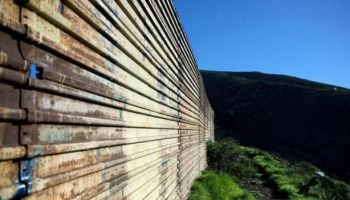 Border fence between Mexico and the US, seen from the Mexican side in Tijuana, north-western Mexico