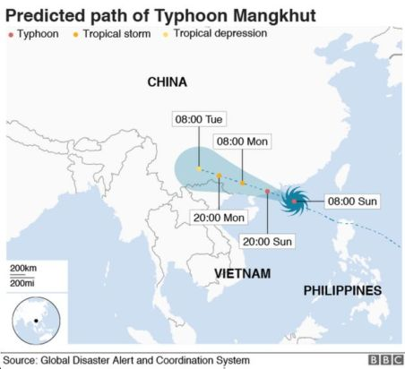 A map showing the path of Typhoon Mangkhut