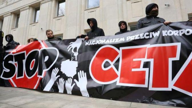 Protestors against CETA