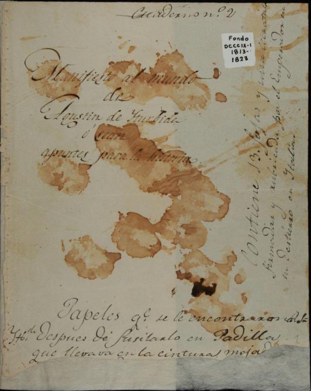 """""""Declaração ao Mundo"""" ou """"Notas para a História"""", por Agustín de Iturbide"""