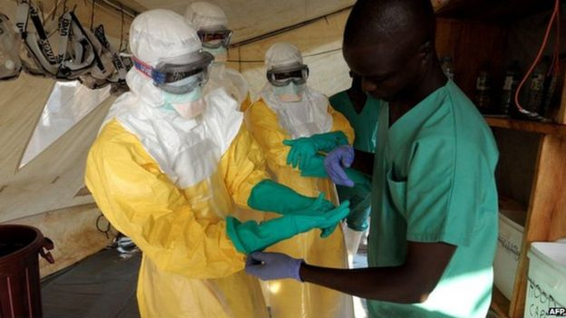 Health workers in isolation ward, southern Guinea (1 April)