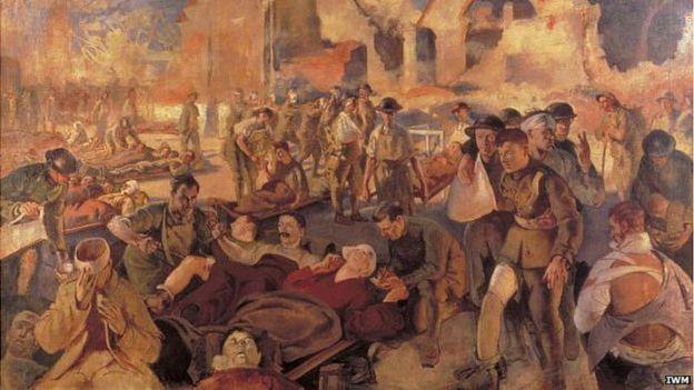 Pintura de cena de guerra