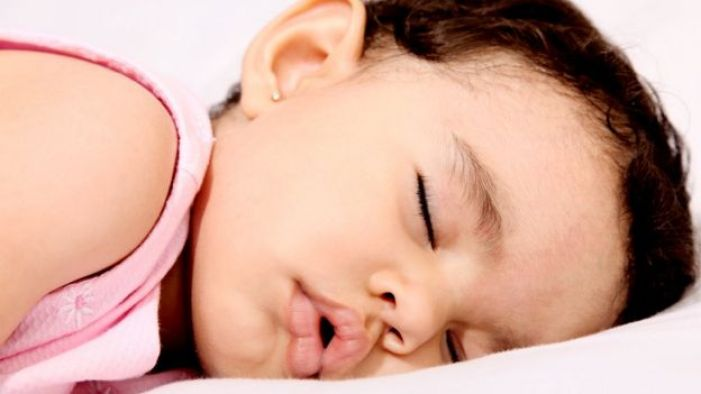 Toddler asleep with mouth open