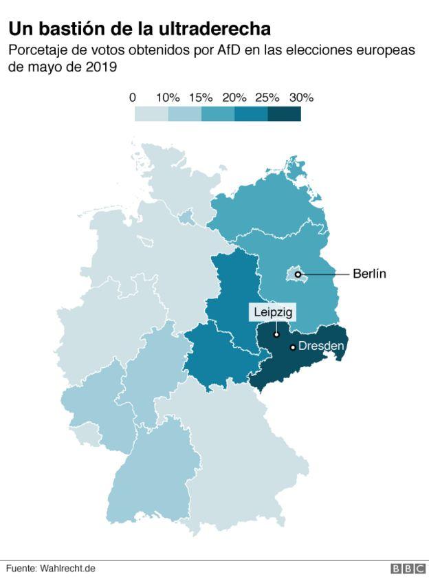 Mapa electoral de Alemania.