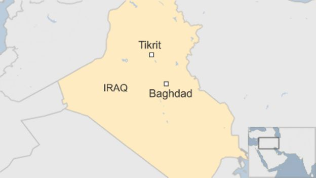 Map showing Baghdad and Tikrit in Iraq