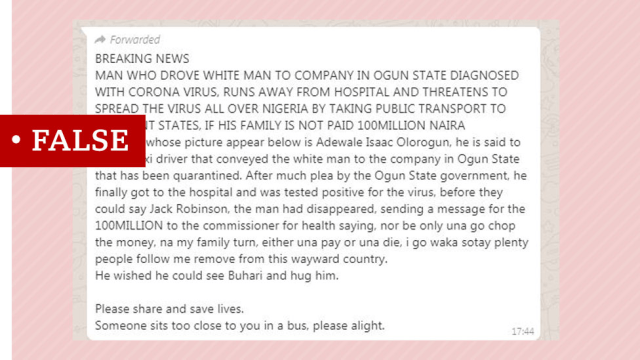 Screenshot of a false report about a taxi driver who apparently ran away from a hospital in Nigeria despite being suspected of having coronavirus