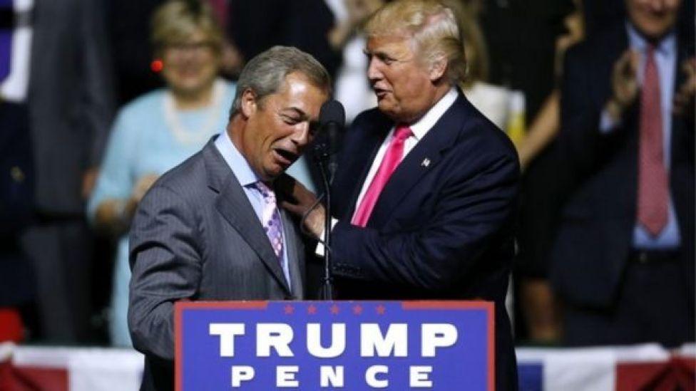 Nigel Farage (l) and Donald Trump