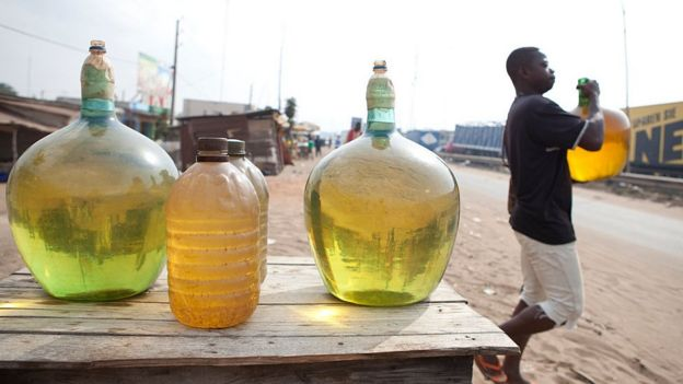 Petrol from Nigeria being sold in Cotonou, Nigeria - archive shot